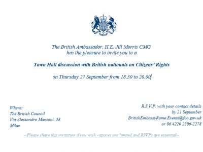 Town Hall discussion with British nationals on Citizens' Rights – Thursday 27 September from 6:30pm & 8:30pm in Milan