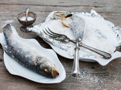 "Sea bass baked in a salt crust – ""Branzino al Sale"""