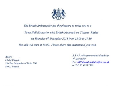 Naples: Town Hall discussion with British nationals on Citizens' Rights – Thursday 6 December