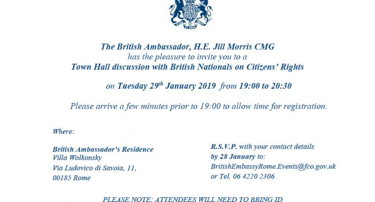 British Embassy Townhall invite Rome 29012019