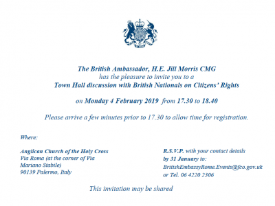 Palermo: Town Hall discussion with British nationals on Citizens' Rights – Monday 4 February from 5:30pm to 6:40pm