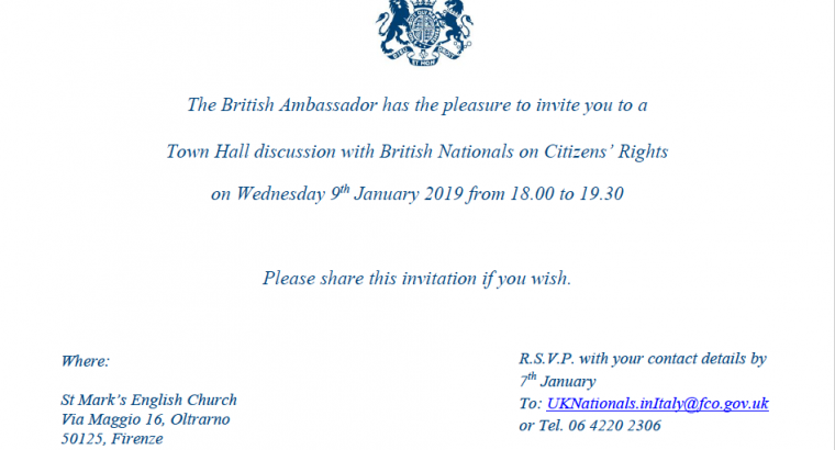 Florence: Town Hall Discussion with British nationals on Citizens' Rights – Wednesday 9 January 2019 from 6:00pm to 7:30pm
