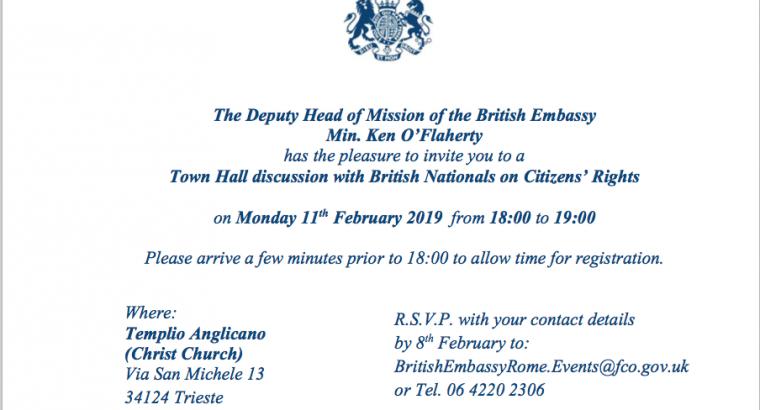 British Embassy Townhall invite Trieste