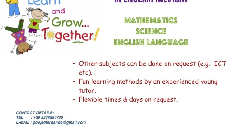English, Maths & Science classes for primary school students