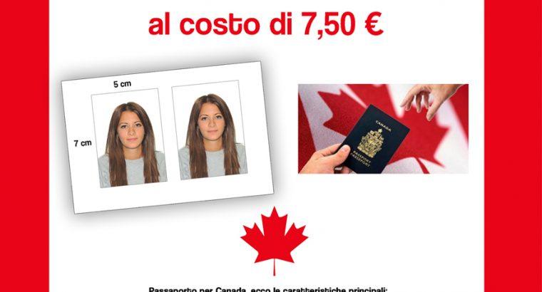 Fototessere per passaporto canadese