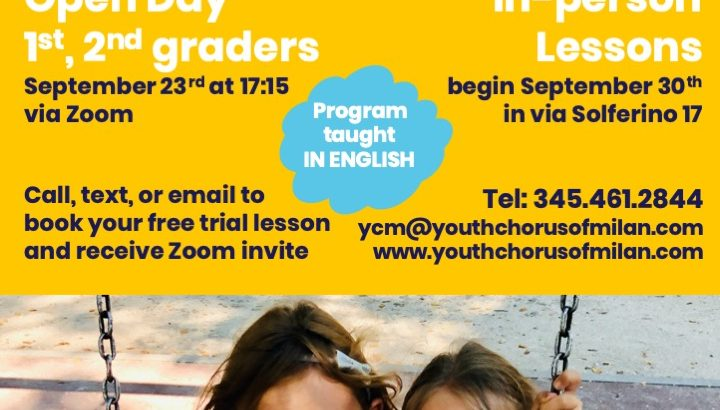 Youth Chorus of Milan Open Days for kids ages 5-13