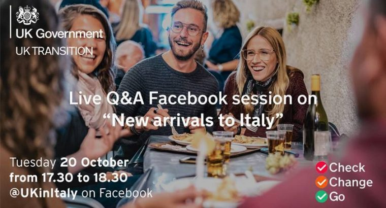 "Live Q&A Facebook Session for ""New Arrivals to Italy"""