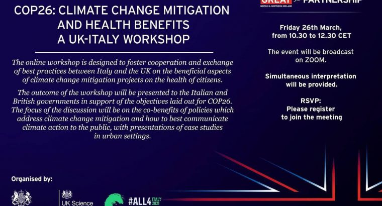 COP26: Climate change mitigation and health benefits – A UK-Italy workshop
